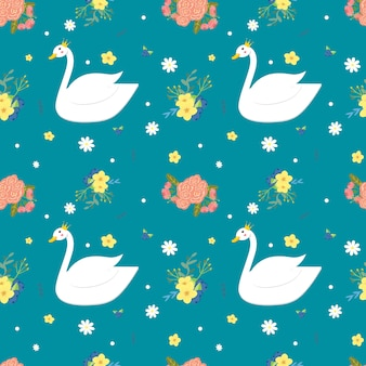 White swan and flower seamless pattern