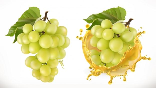 Белый сладкий виноград и всплеск сока. свежие фрукты, реалистичные