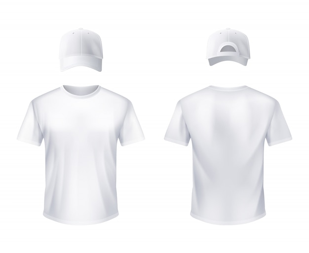 White t-shirt and baseball cap man realistic