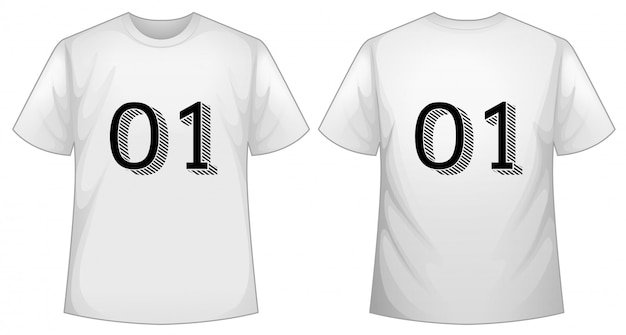 White t-shirt template with front and back