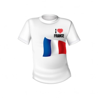 White t shirt with the flag of france