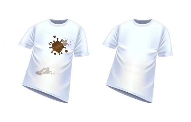 汚れ、ベクトル図の斑点のある白いtシャツ。清潔で汚れたtシャツ