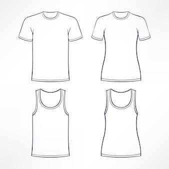 男性と女性のための白いtシャツ