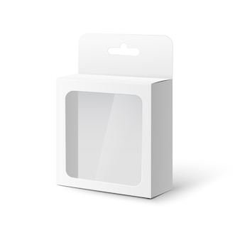 White tab box with plastic window realistic  illustration isolated.