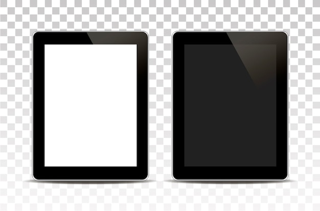 White tablet computer isolated on transparent background