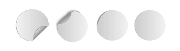 White tags, paper round stickers with peeling corner and shadow, round paper adhesive stickers with curved corner