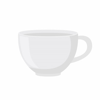 White tea cup in cartoon flat style