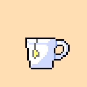 White tea cup with pixel art style