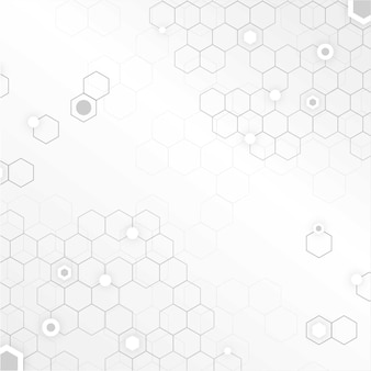 White technology background with honeycombs