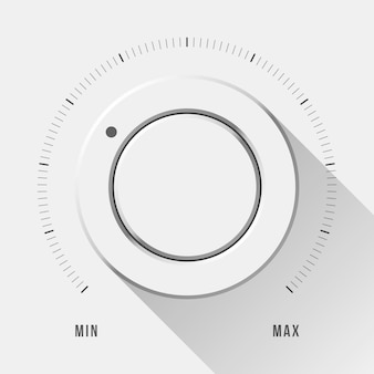 White technology music button volume knob with flat designed shadow and range scale