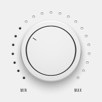 White technology volume knob music button with realistic shadow range scale and light background
