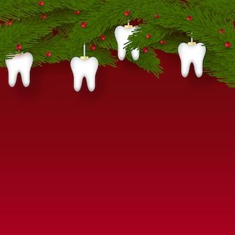 赤い背景の上のクリスマスツリーの形をした白い歯のアイコン。新年の要素。