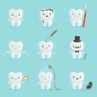 White teeth with different emotions set for  . cartoon detailed illustrations