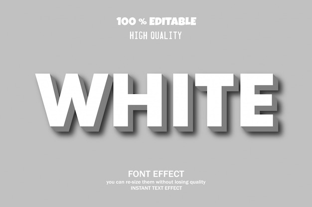 White text, editable font effect
