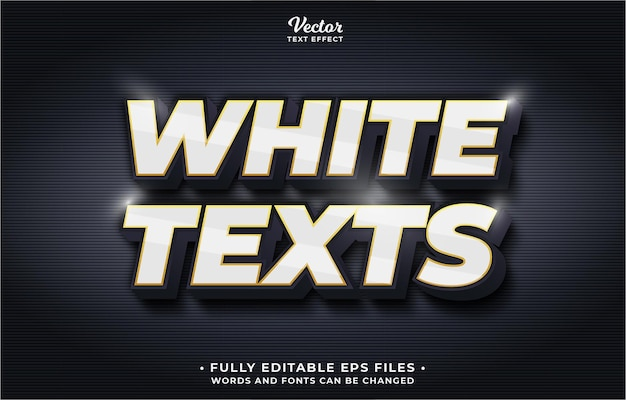 Белый текстовый эффект редактируемые слова и шрифты eps cc можно изменить