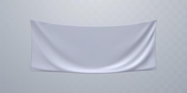 White textile advertising banner mockup