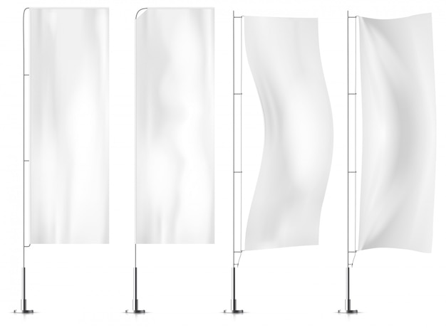 White textile banner flags