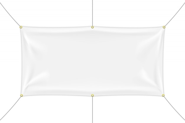 White textile banner mockup with folds