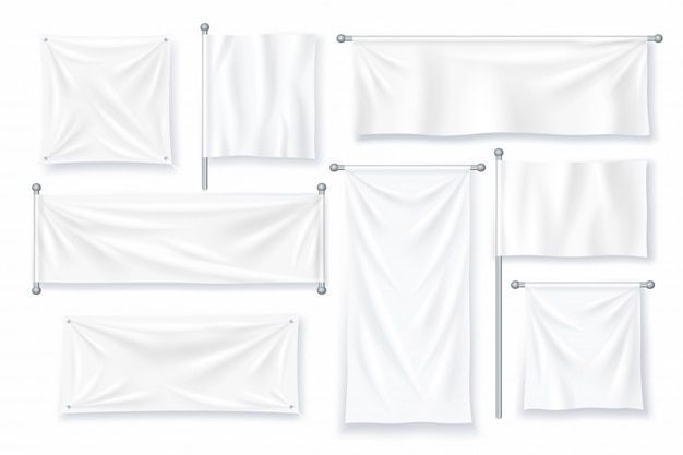 Белый текстильный баннер. реалистичный тканевый холст для рекламного знака.