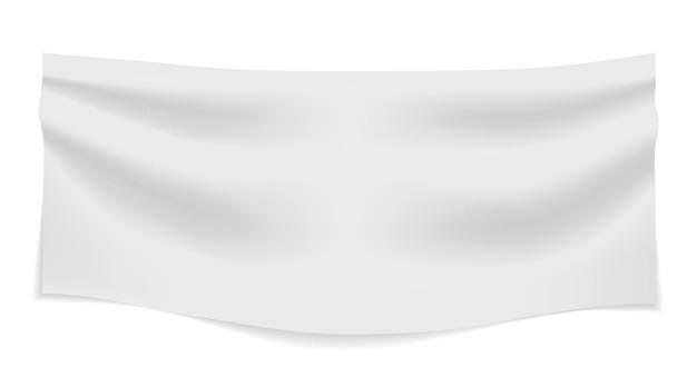 Белый текстильный баннер со складками ткани пустой горизонтальный пустой плакат вектор реалистичный нейлон или винил