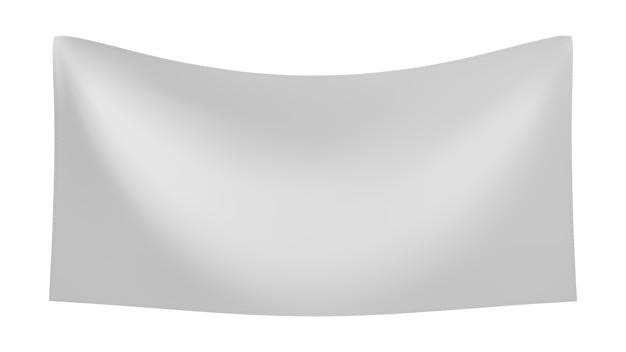 白い背景で隔離の折り目付きの白いテキスタイルバナー。空白のぶら下げ生地テンプレート。