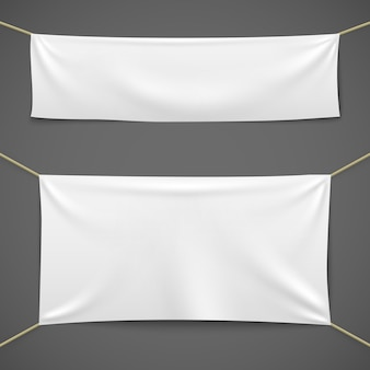 White textile banners. blank fabric flag hanging canvas sale ribbon horizontal template advertising cloth banner set