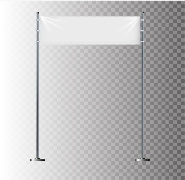 광고를 위한 빈 매달려 있는 패브릭 흉내낸 그래픽 디자인 요소가 있는 흰색 섬유 배너...