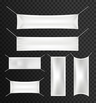 White textile banners with folds set for advertising, party