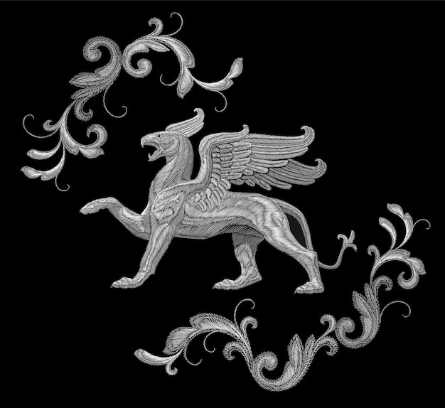 White textured embroidery griffin textile patch design. fashion decoration ornament fabric print.