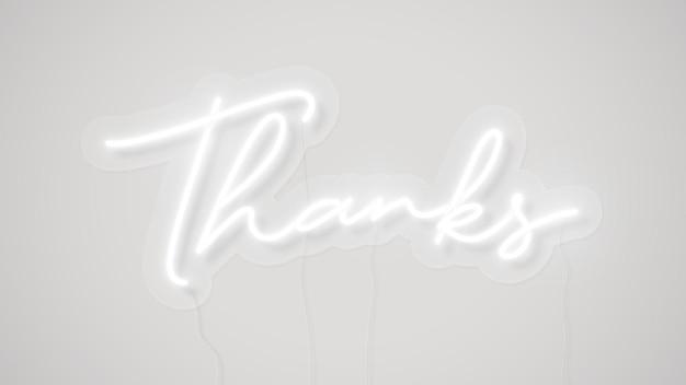 흰색 감사 네온 단어
