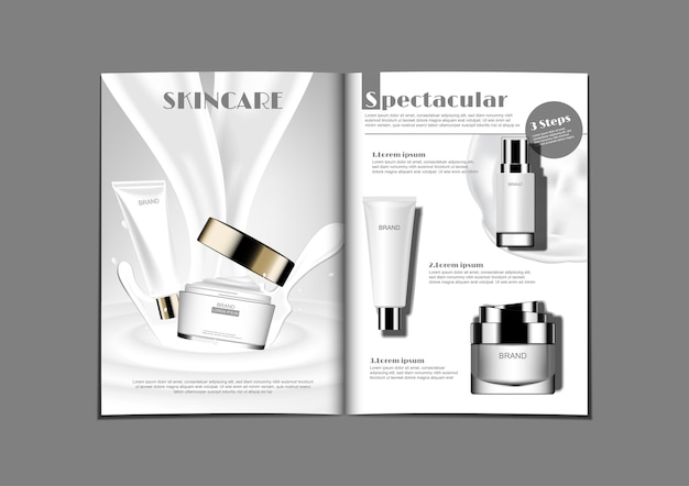 White theme milky cream and skin care lotion