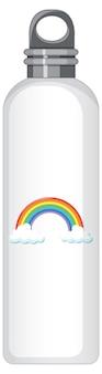 Una bottiglia termica bianca con motivo arcobaleno