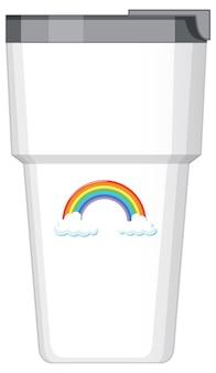 Una borraccia termica bianca con motivo arcobaleno