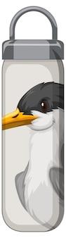 Un thermos bianco con motivo uccellino