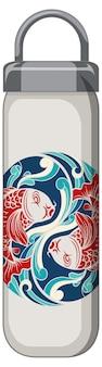 A white thermos bottle with koi carp pattern