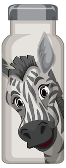 A white thermos bottle with zebra pattern