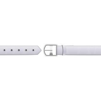 Тонкий белый кожаный ремень с металлической пряжкой и металлическими отверстиями.