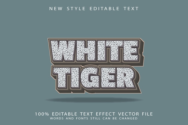 White tiger editable text effect emboss cartoon style