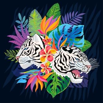 Голова белого тигра в разноцветных тропических листьях