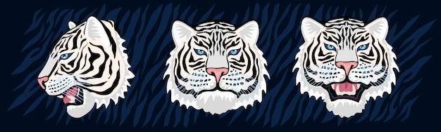 화려한 정글에서 흰 호랑이 머리 포효 야생 고양이. 호랑이 줄무늬 배경 그리기. 그린 캐릭터 아트 일러스트