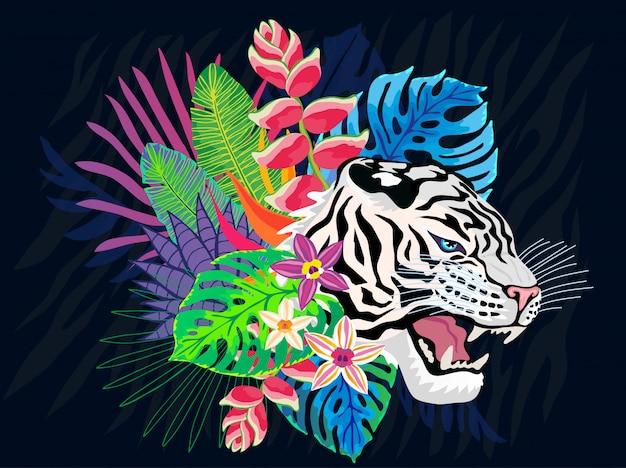 화려한 정글에서 화이트 타이거 머리 야생 고양이입니다. 열대 우림 열대 나뭇잎 배경 그림. 핑크 호랑이 줄무늬 캐릭터 아트 일러스트