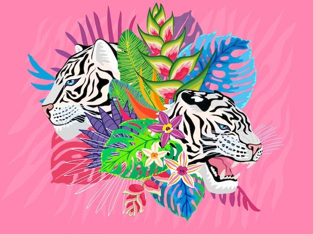 Кот белого тигра головной одичалый в цветастых джунглях. тропический лес тропический листья фоновый рисунок. розовые тигровые полоски