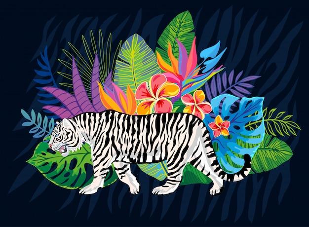 Кот белого тигра головной одичалый в цветастых джунглях. тропический лес тропический листья фоновый рисунок. иллюстрация тигровых полос