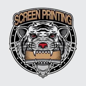 White tiger logo screen printing