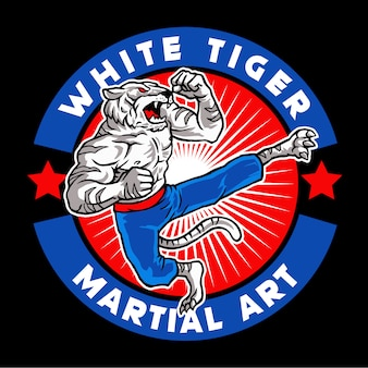 White tiger martial art mascot logo