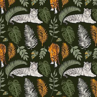 White tiger seamless pattern