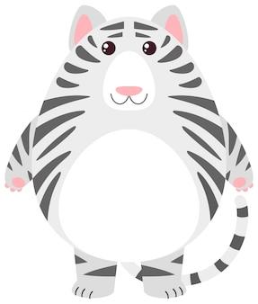 Белый тигр с круглым телом