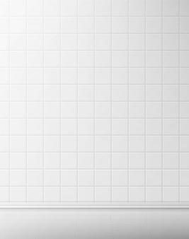 白いタイルの壁とバスルームの床