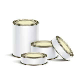 White tin box packaging container set for tea, coffee or canned tinned preserves food isolated