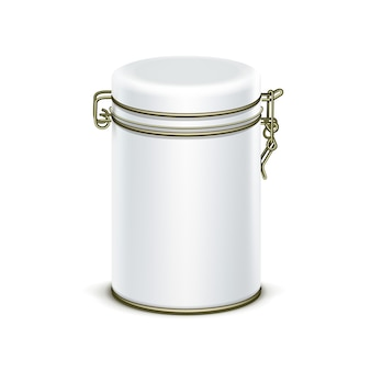White tin box packaging container for tea or coffee isolated